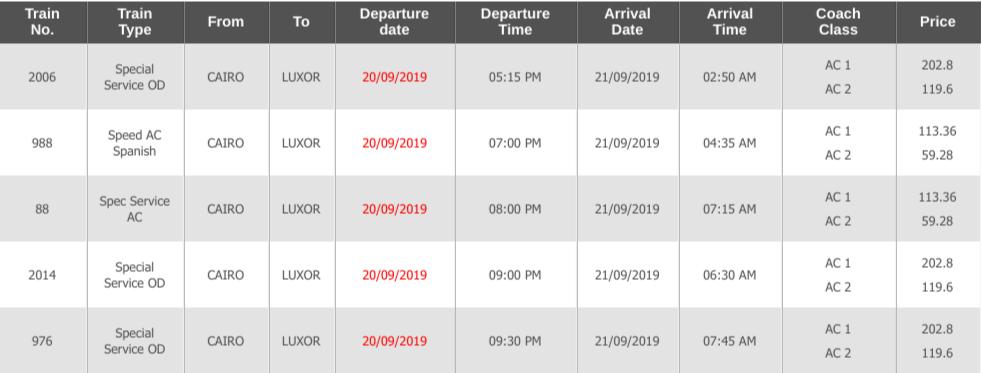 カイロからアスワンの電車時刻表2