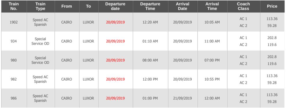 カイロからアスワンの電車時刻表1