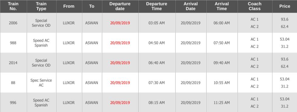 ルクソールからアスワンの電車時刻表1