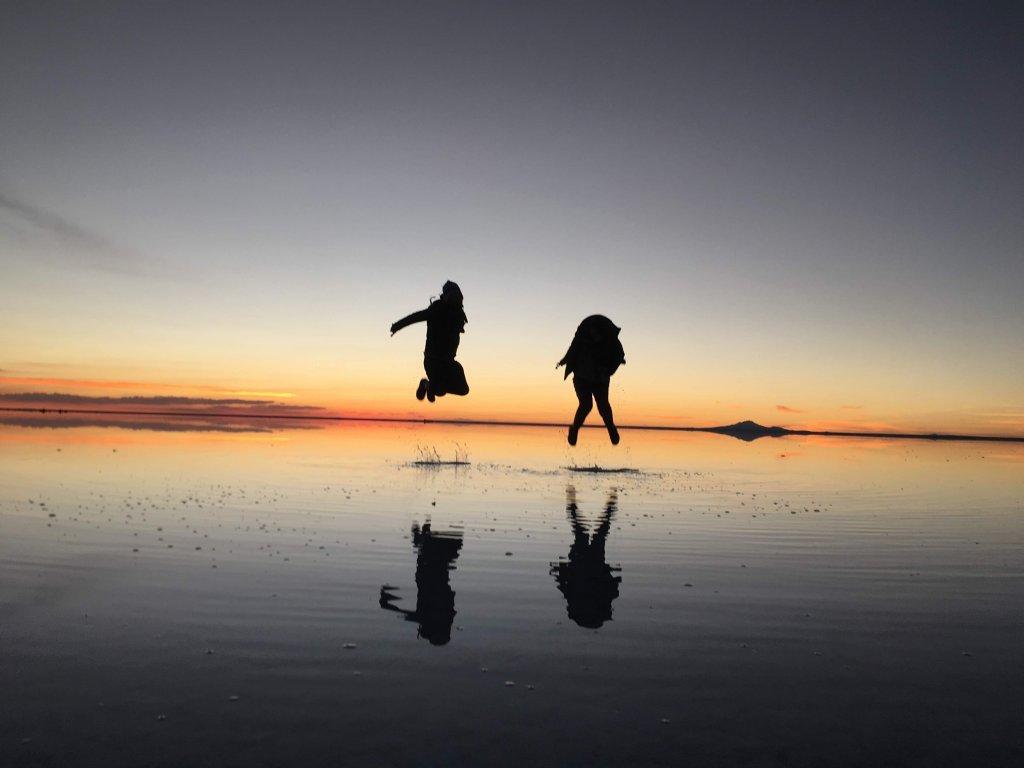 ウユニ塩湖の夕方
